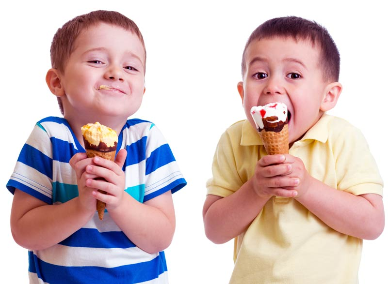 two boys eating ice cream